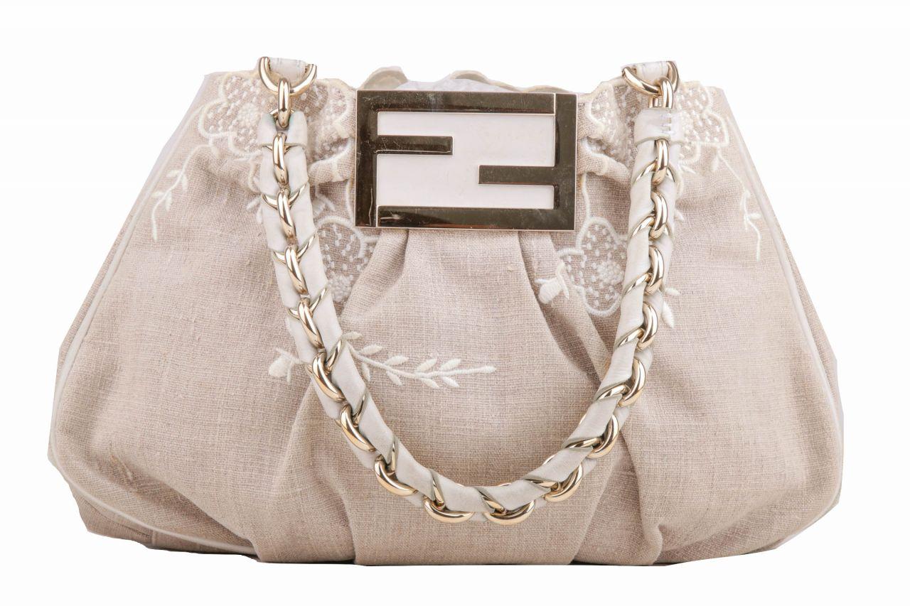 Fendi Shoulder Bag Floral Beige