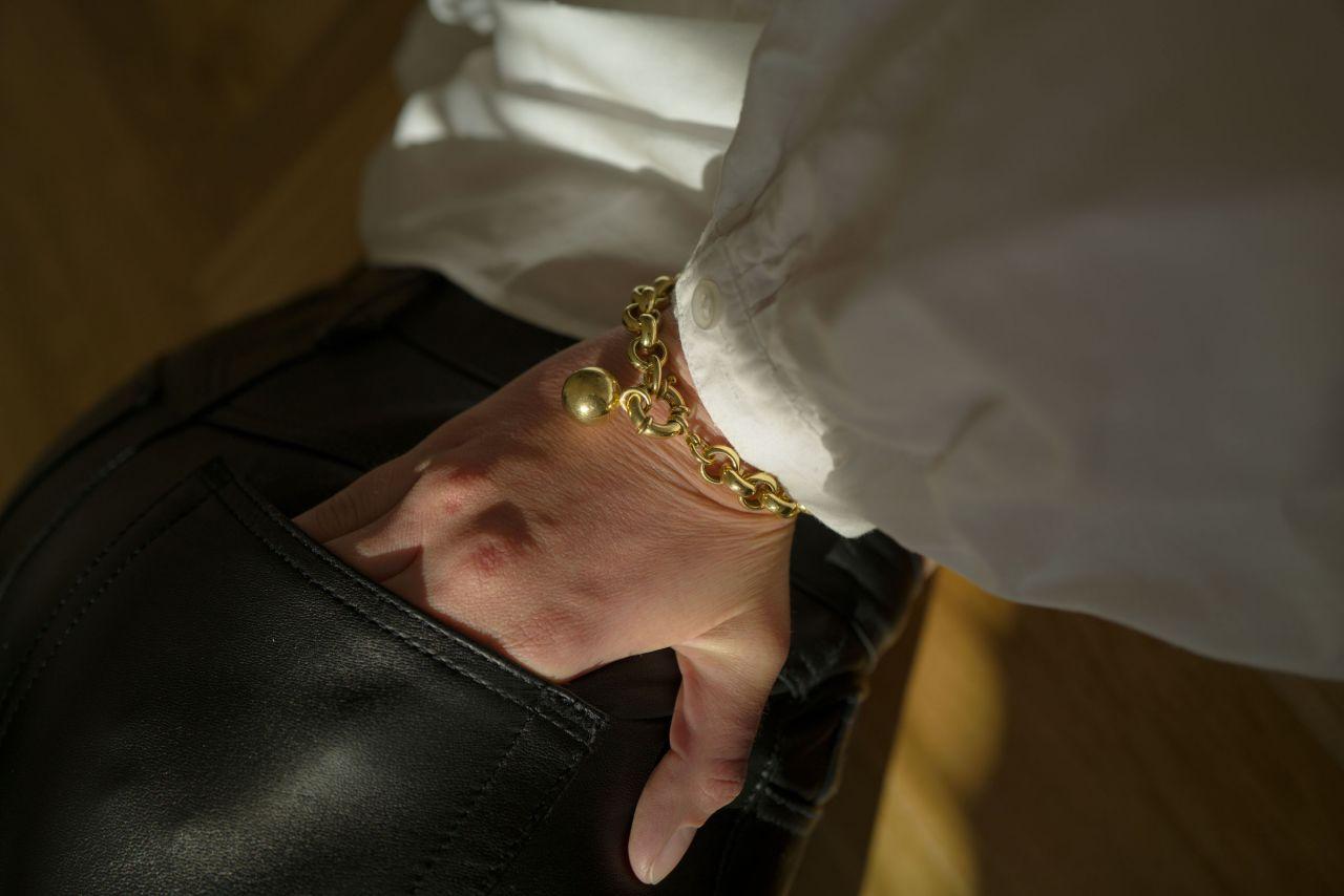 Erbsarmband Gold mit dekorativem Federring