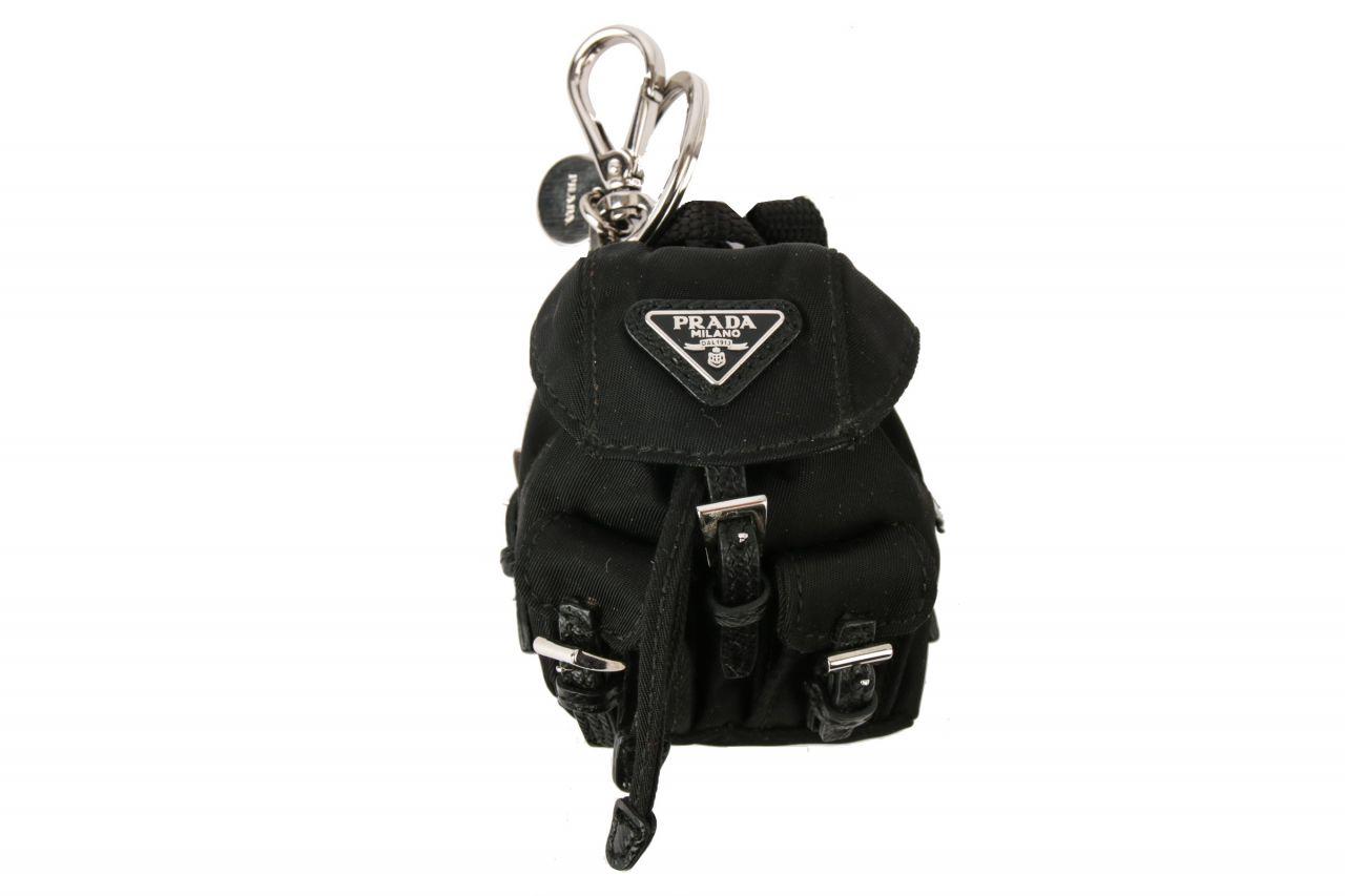 Prada Vela Backpack Schlüsselanhänger Nylon Schwarz