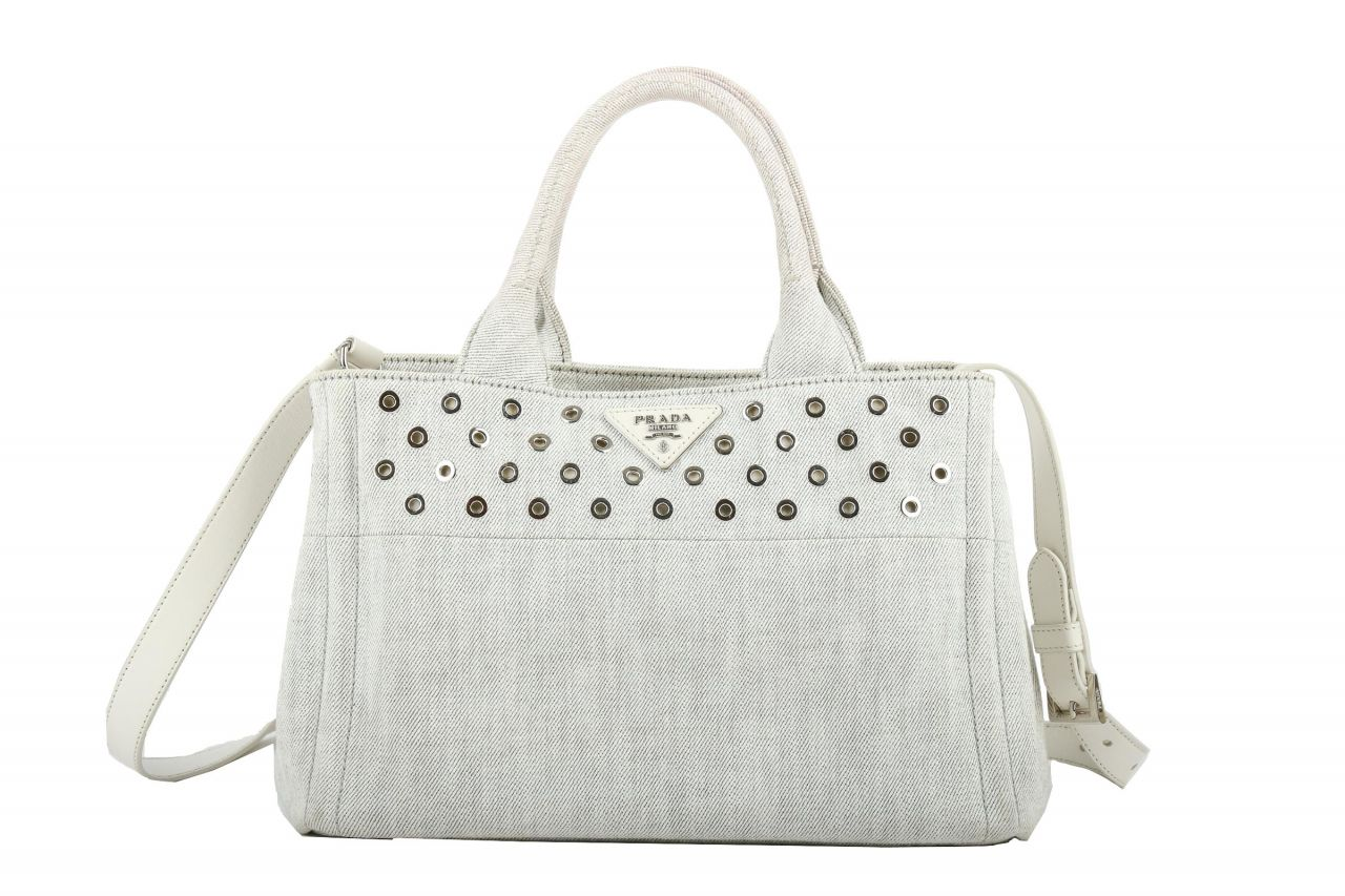 Prada Canapa Tote Bag Denim White
