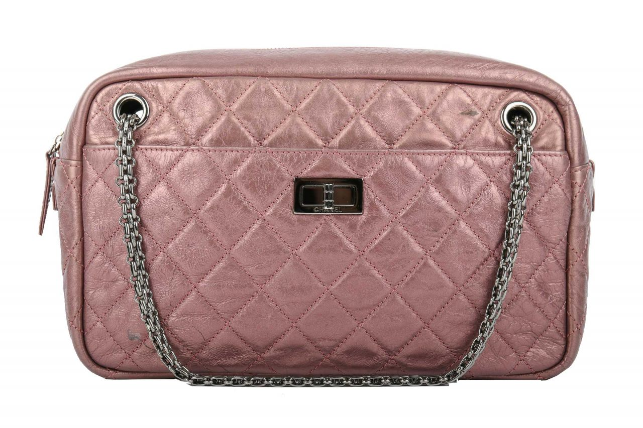 Chanel Metallic Aged Calfskin Quilted Large Reissure Camera Bag Pink