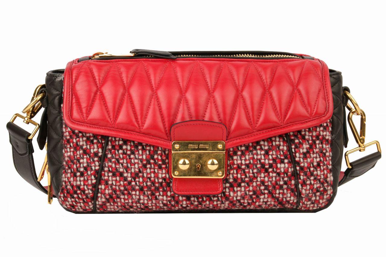 Miu Miu Crossbody Bag Tweed Rot