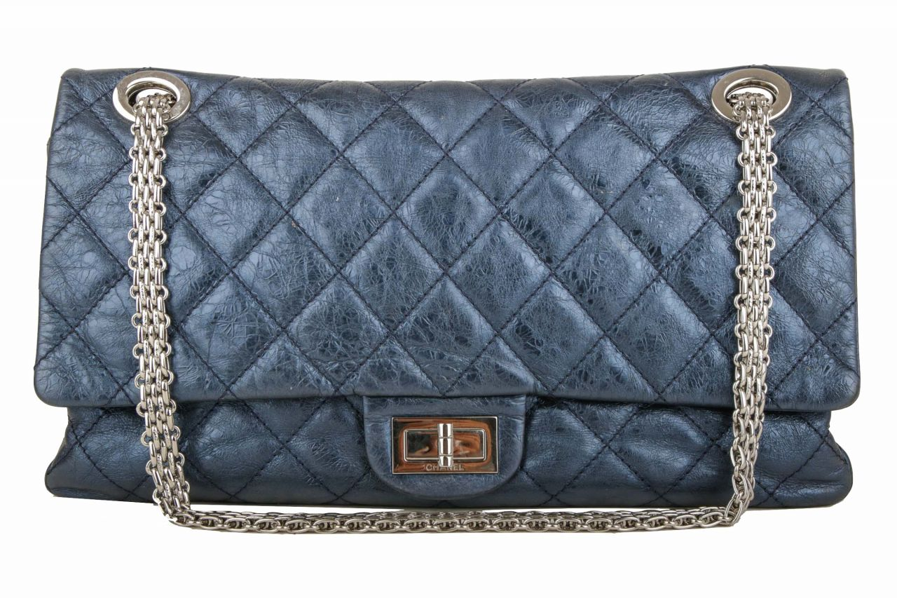 Chanel 2.55 Jumbo Bag Metallic Blue