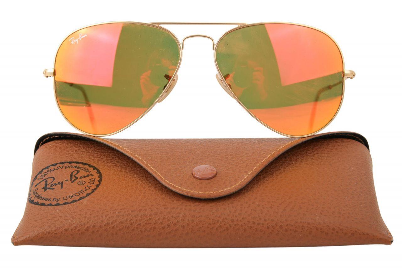 Ray-Ban Aviator Sonnenbrille RB3025 Rot Metallic