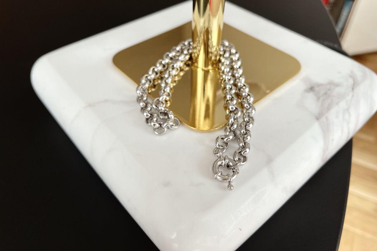 Schmale Erbskette Silber mit dekorativem Federring