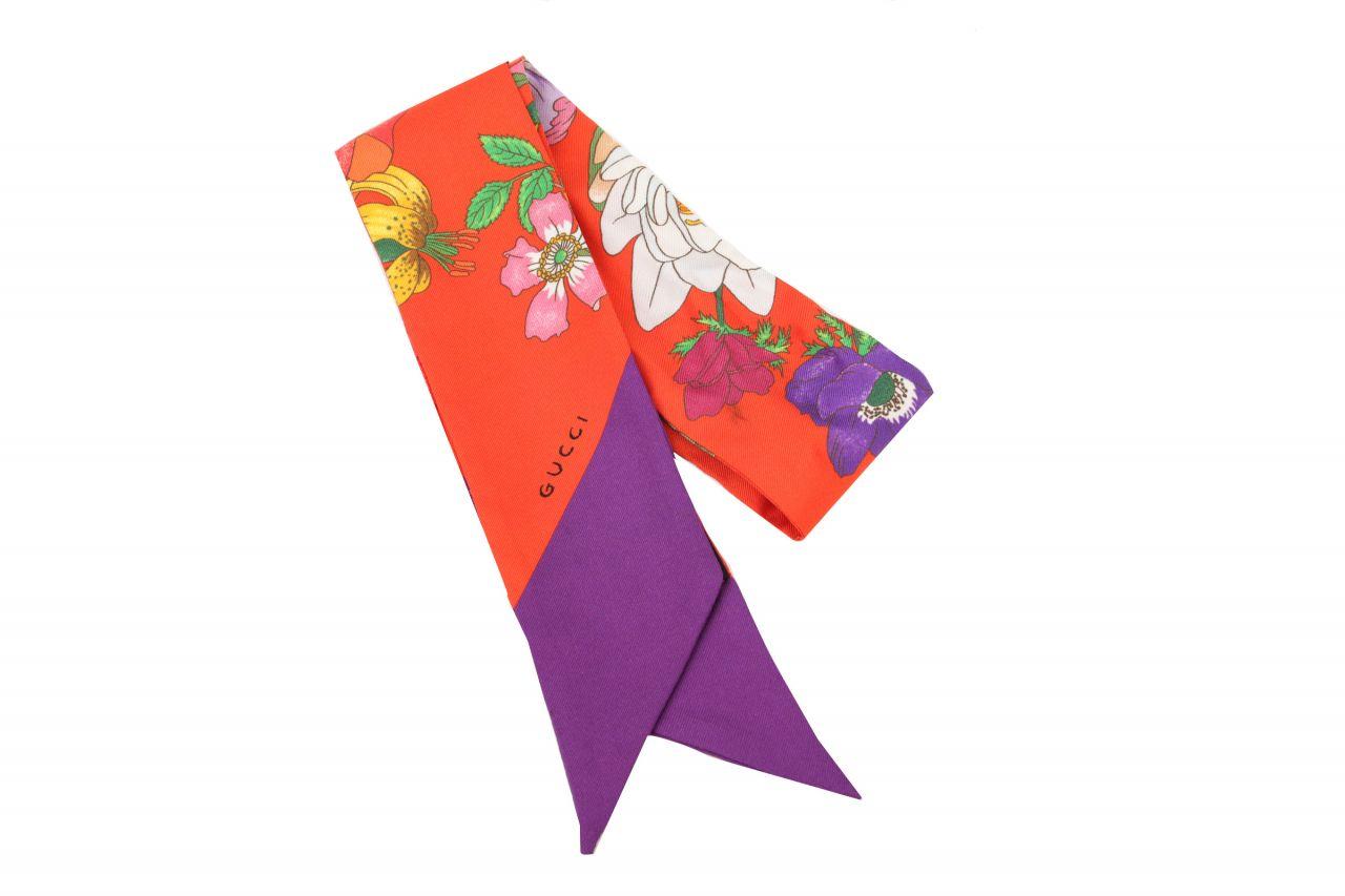 Gucci Halsschleife Seide Floral Orange Lila