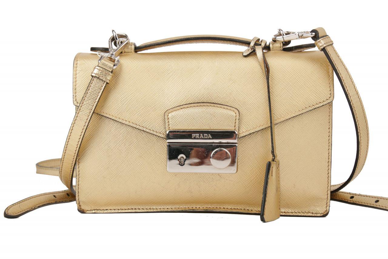 Prada Crossbody Saffiano Leder Bag Gold