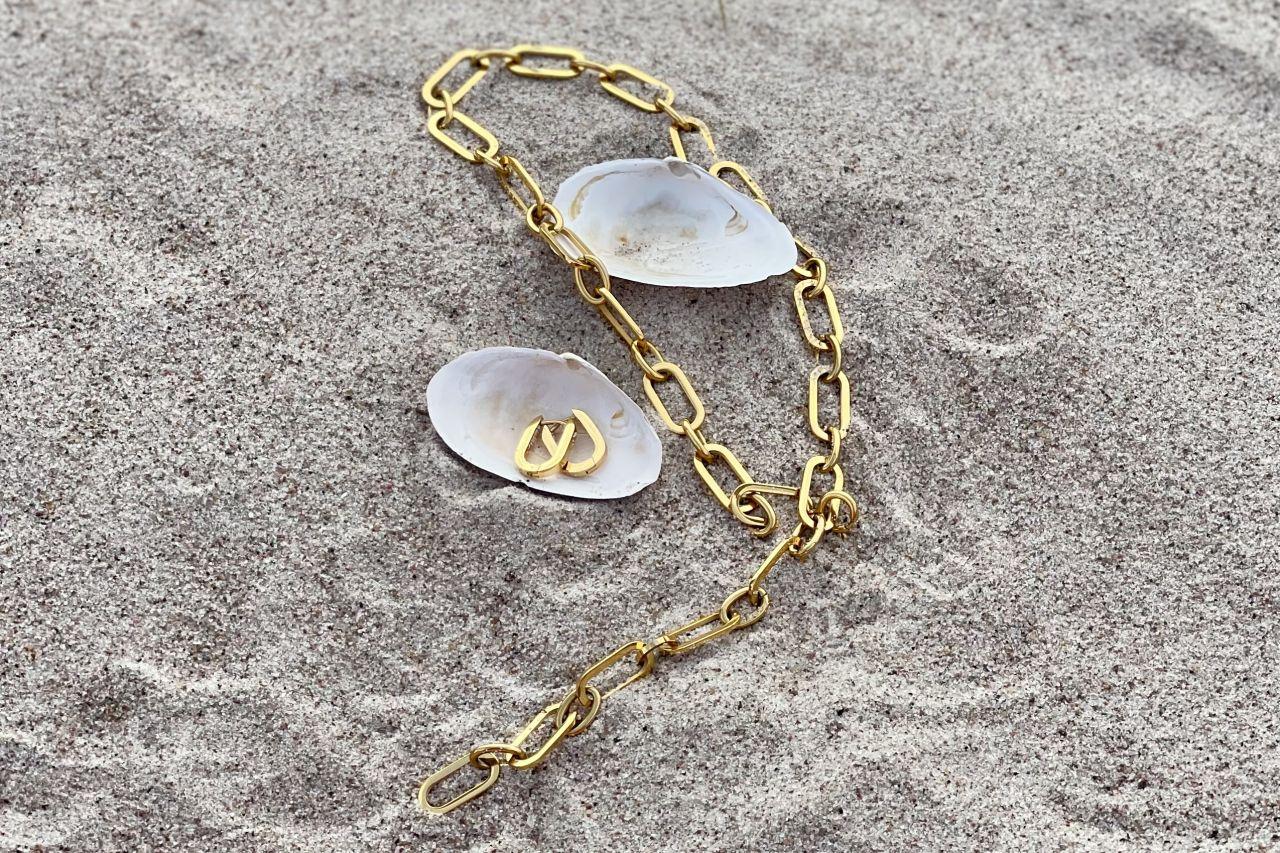 Schmuckset Gliedercollier mit passenden Ohrringen Gold