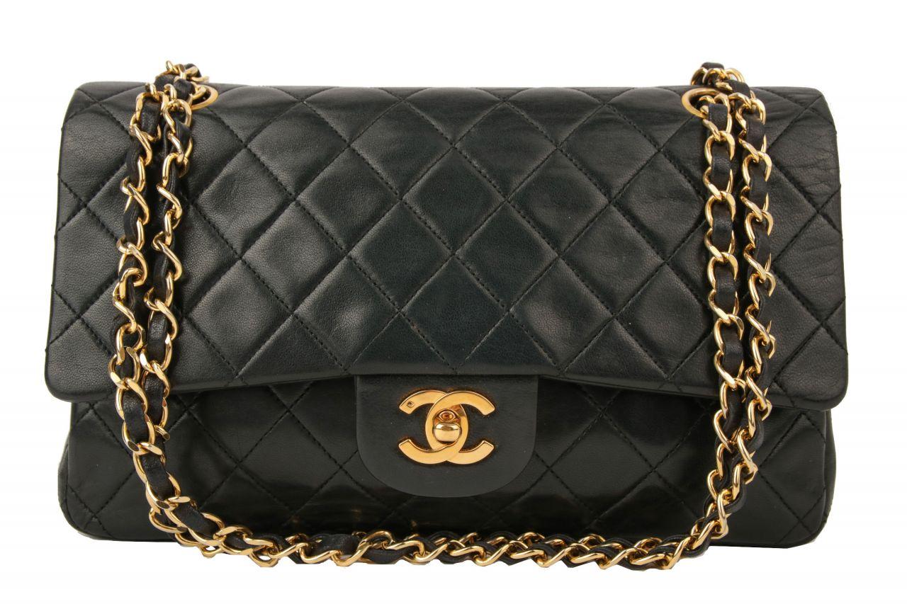 Chanel Timeless Double Flap Bag Medium Schwarz