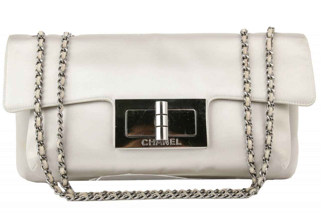 Chanel Shoulder Bag Silk Grey