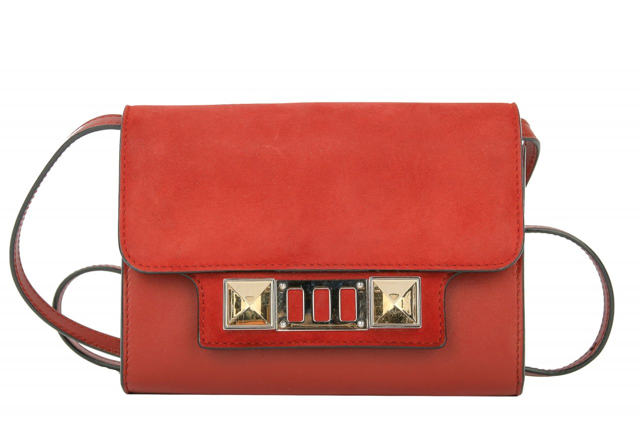 Proenza Schouler PS11 Wallet on Chain in Weinrot