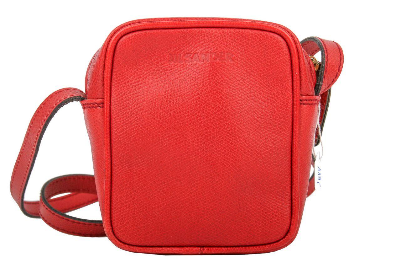 Jil Sander Leather Messenger Bag Red