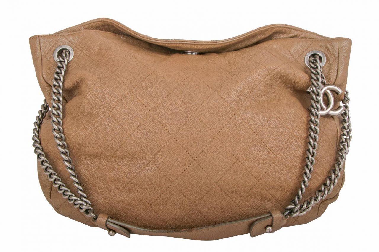 Chanel Shoulder Bag Nubuk Taupe