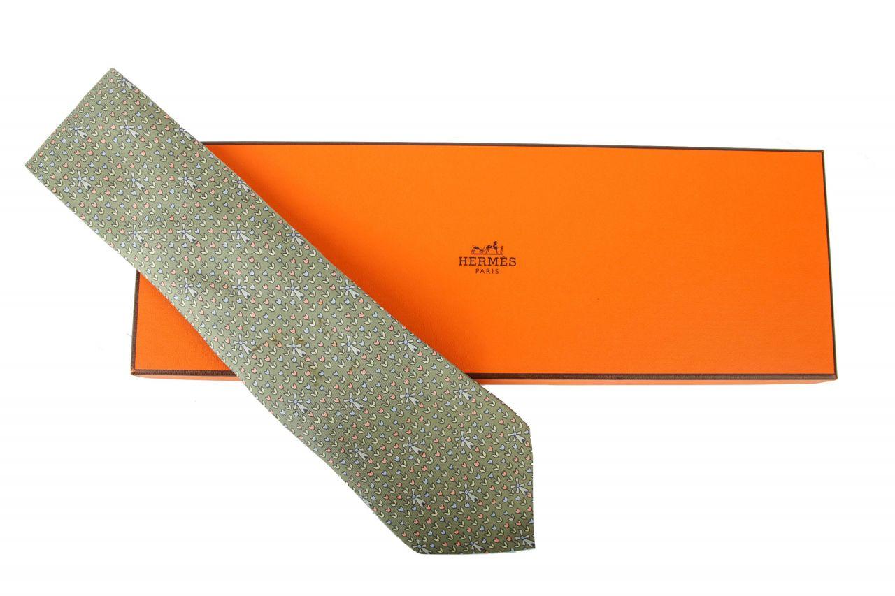 Hermès Krawatte Grün Floral mit Windmühlen
