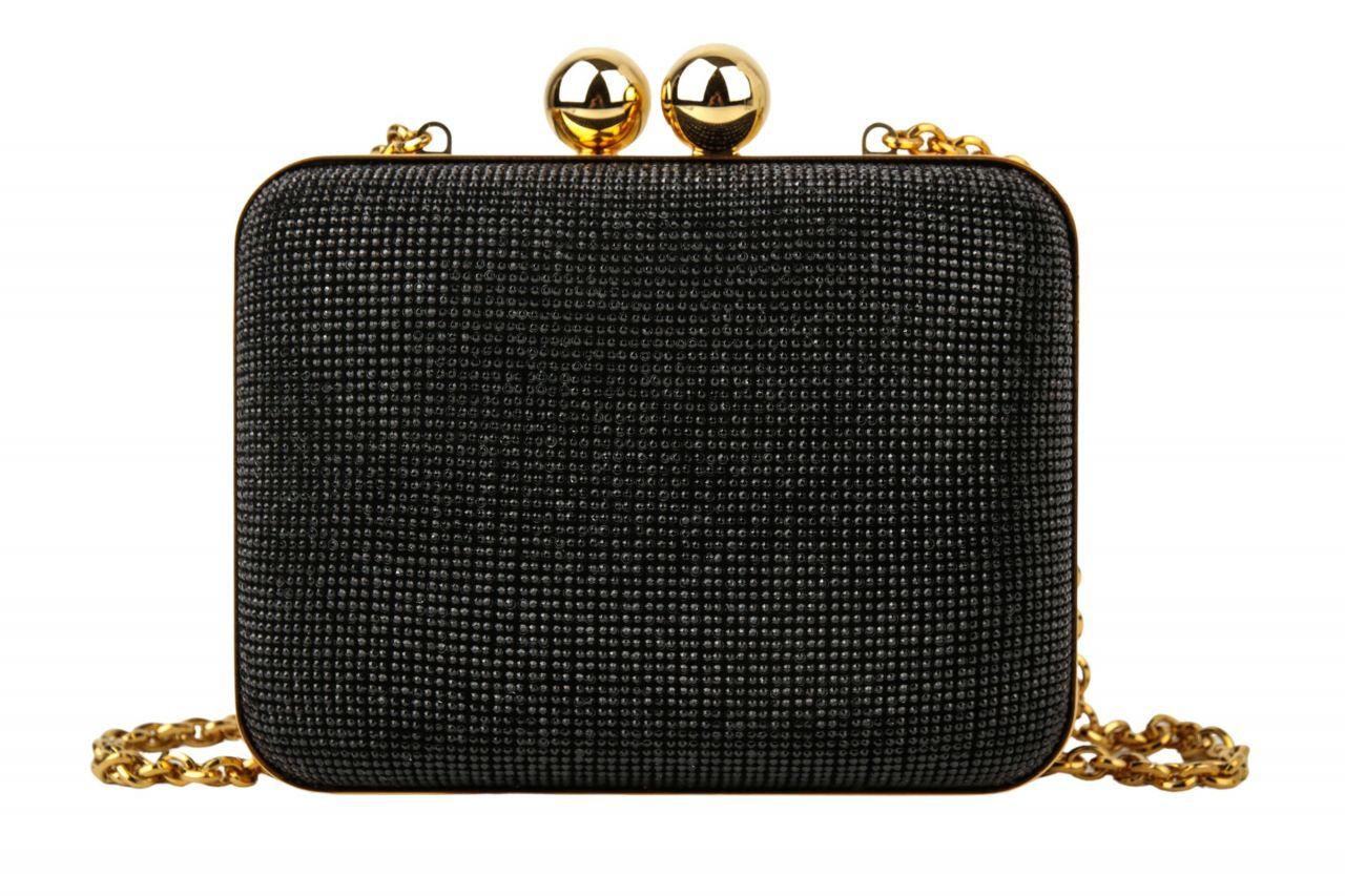 Dolce & Gabbana Minaudiere Camoscio Clutch Schwarz Strass