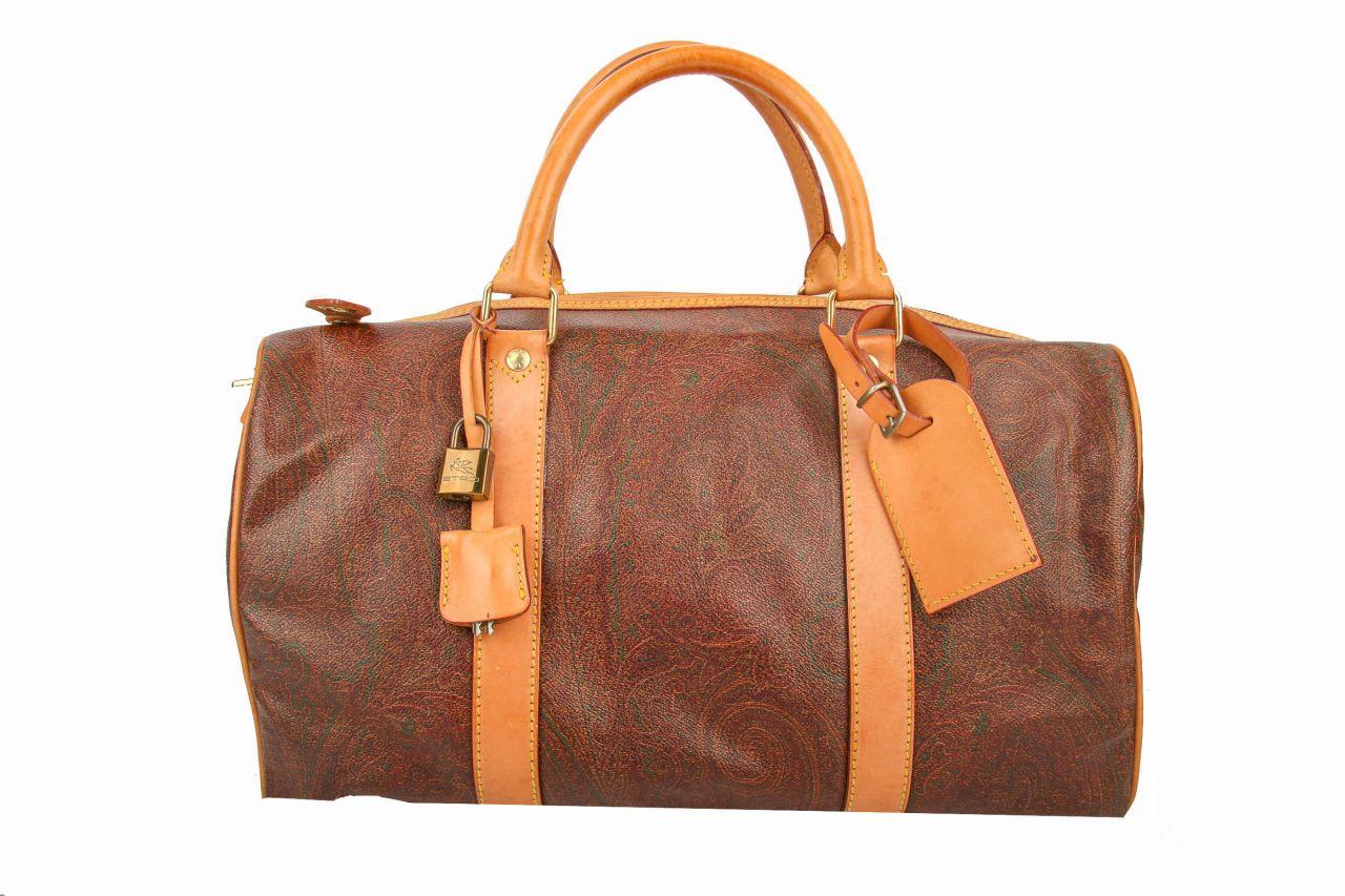 Etro Boston Bag 40 Paisley Braun