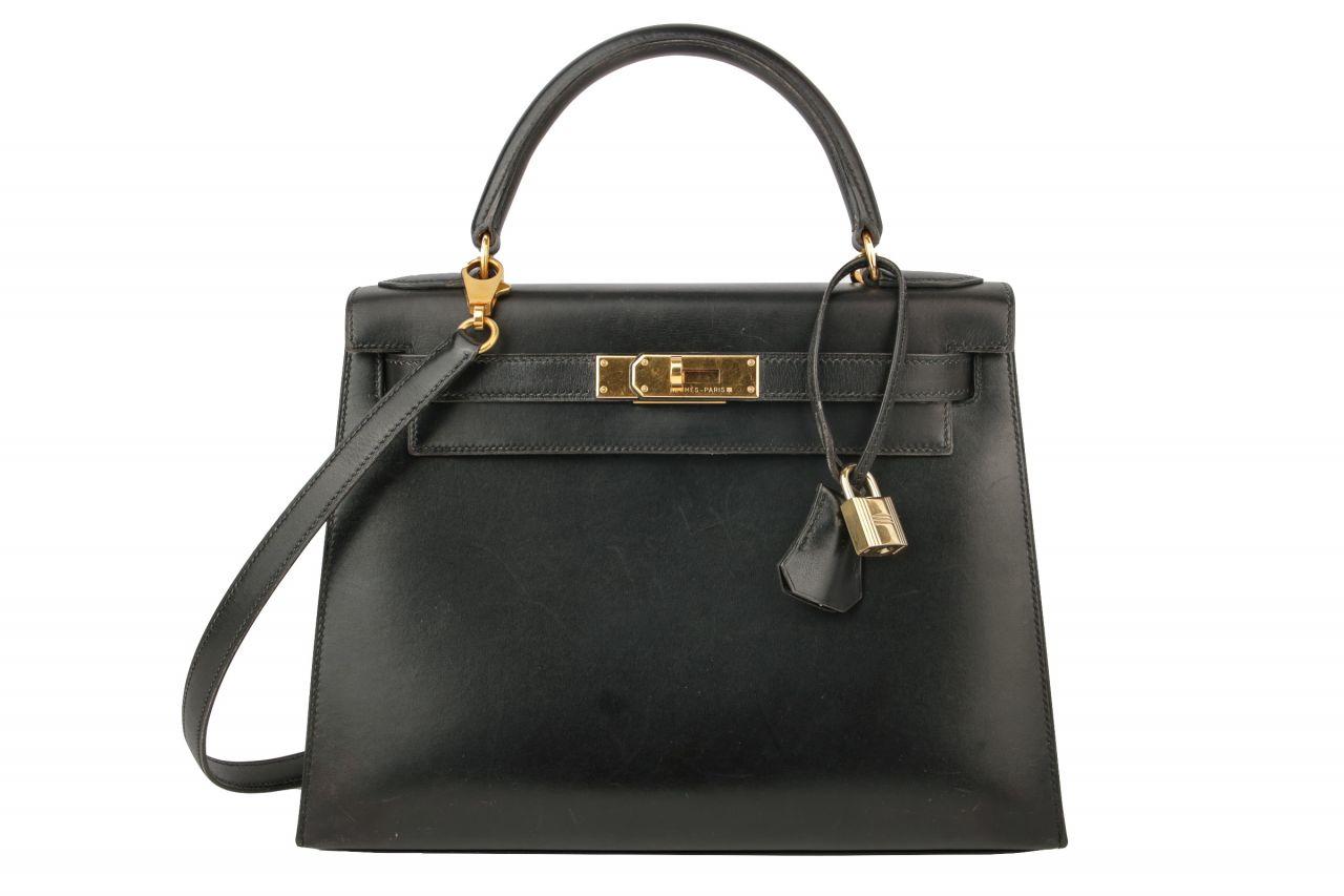 Hermès Kelly 28 Box Leder Schwarz