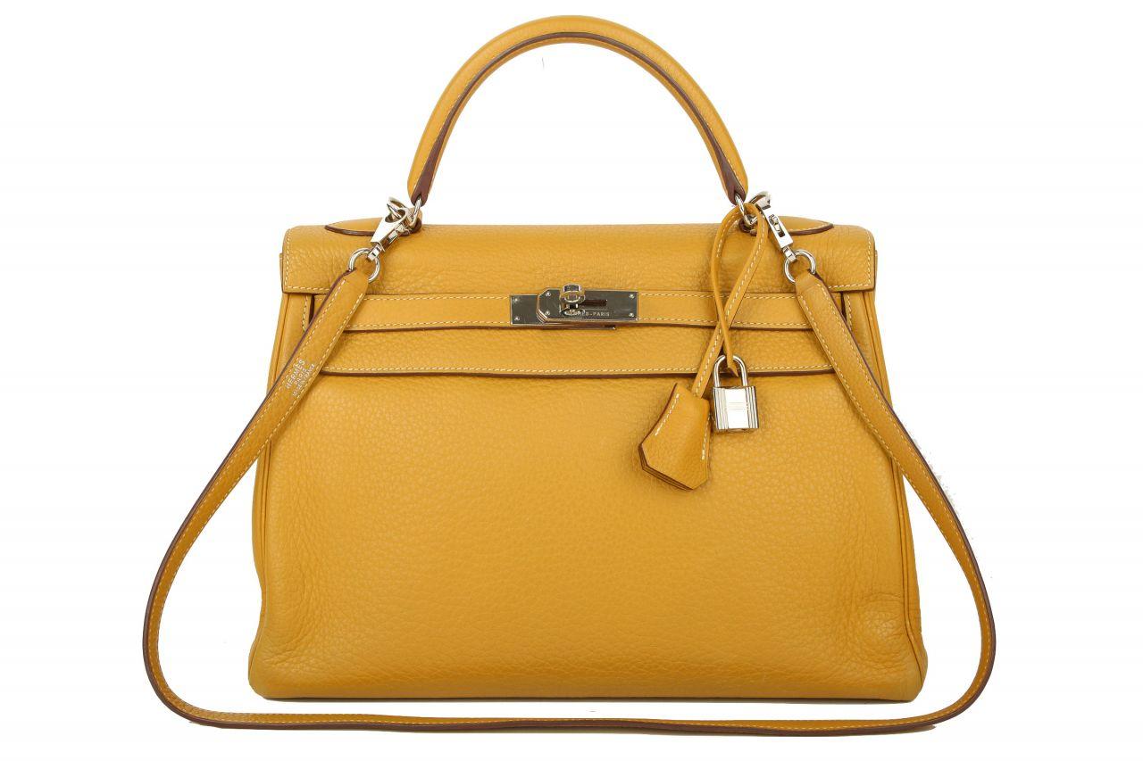 Hermès Kelly Bag 32 Retourne Clemence Curry